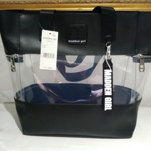 Madden Girl tote black & clear.
